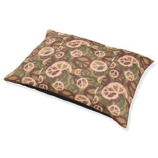 brown tan green camo look dog cat bed pillow peace