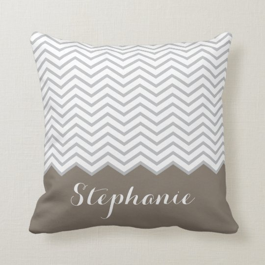Brown Tan Grey Grey Chevron Custom Name Cushion