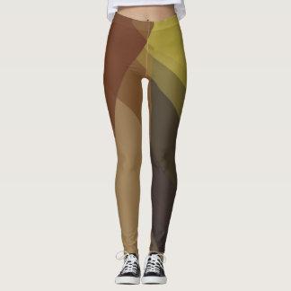 Brown Tan Modern Geometric Pattern Leggings