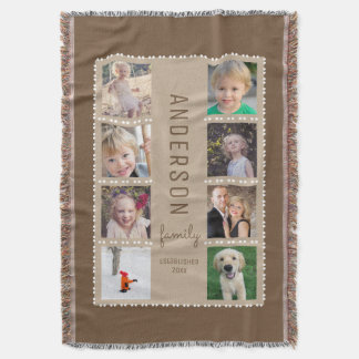 Brown & Tan Photo Collage Family Name Throw Blanket