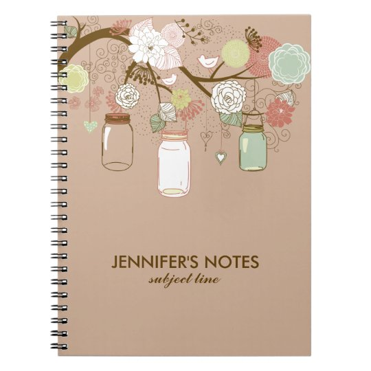 Brown & Tan Retro Flowers & Mason Jars Notebook