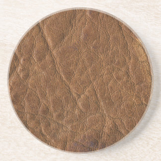Brown Tanned Leather Texture Background Drink Coaster