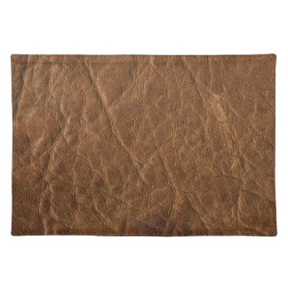Brown Tanned Leather Texture Background Placemat
