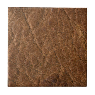 Brown Tanned Leather Texture Background Small Square Tile