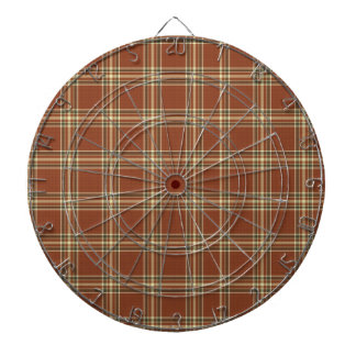 Brown Tartan Metal Cage Dartboard