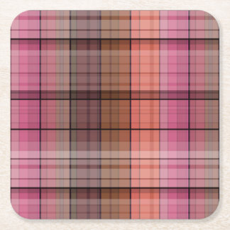Brown tartan square paper coaster