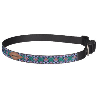 Brown Teal Diamond Fractal Pattern Custom Pet Collar