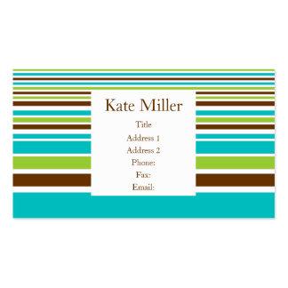 Brown Teal Olive Stripe Business Cards