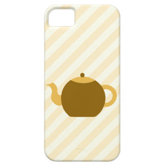 Brown Teapot Picture on Beige Stripes. iPhone 5 Case