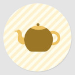 Brown Teapot Picture on Beige Stripes. Round Stickers
