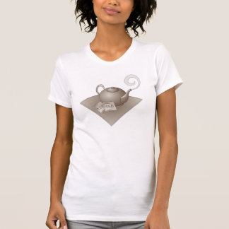 Brown teapot with teabags t shirts