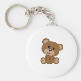 Brown Teddy Bear Basic Round Button Key Ring