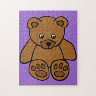 Brown Teddy Bear on Purple Jigsaw Puzzle