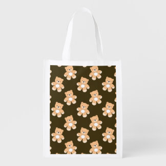 Brown Teddy Bear Pattern Reusable Grocery Bag