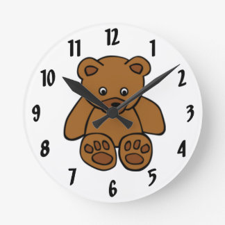 Brown Teddy Bear Round Clock