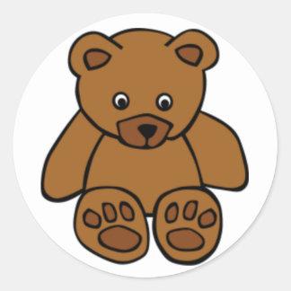 Brown Teddy Bear Round Sticker
