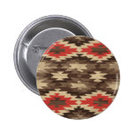 Brown/Terra Cotta Navajo Pattern 6 Cm Round Badge
