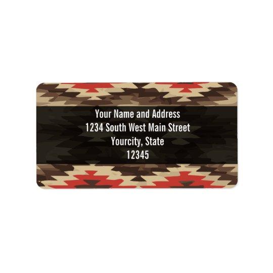 Brown/Terra Cotta Navajo Pattern Address Label