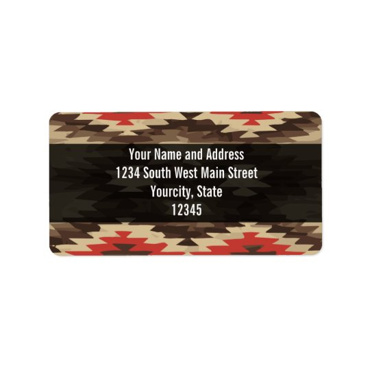Brown/Terra Cotta Navajo Pattern Label