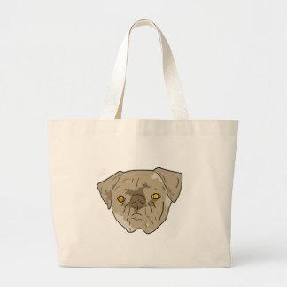 Brown textured pug cutout tote bag