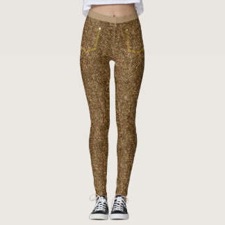 Brown Textured Skinny Jeans Leggings
