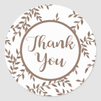 Brown Thank You Floral Leaf Watercolor Leaves Classic Round Sticker