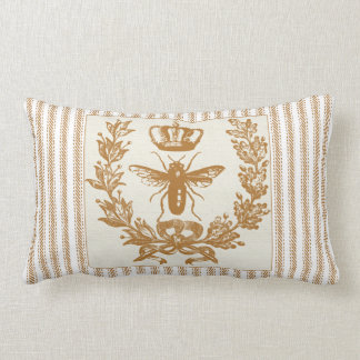 Brown Ticking Effect with Queen Bee and Crown Lumbar Pillow