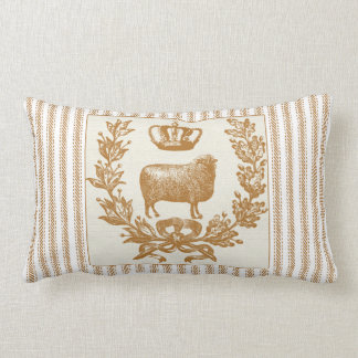 Brown Ticking Effect with Sheep and Crown Lumbar Cushion