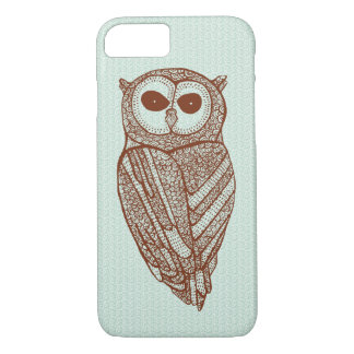 Brown Tones Line Drawing Owl iPhone 7 Case