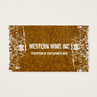 Brown Tooled Leather and Lace Business Card