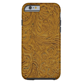 Brown Tooled Leather Look Cowboy Country Tough iPhone 6 Case
