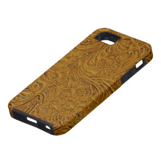 Brown Tooled Leather Look Cowboy Country iPhone 5 Case
