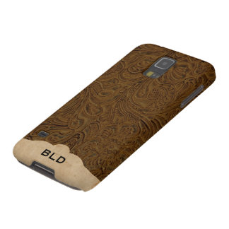 Brown Tooled Leather Look Personalized Galaxy S5 Cover