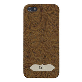 Brown Tooled Leather Look Personalized iPhone 5/5S Cases