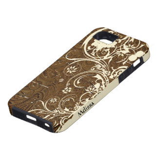 Brown Tooled Leather Look Shabby Cream Lace iPhone 5 Cases