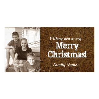 Brown Tooled Leather Photo Christmas Card