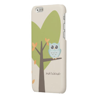 Brown Tree Branch Leaves Custom Name Blue Owl iPhone 6 Plus Case