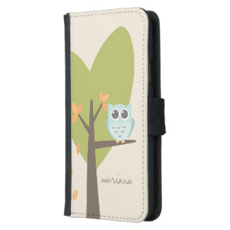 Brown Tree Branch Leaves Custom Name Blue Owl Samsung Galaxy S5 Wallet Case