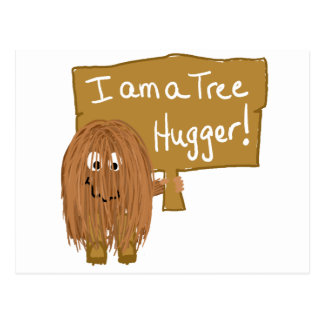 Brown tree hugger postcard