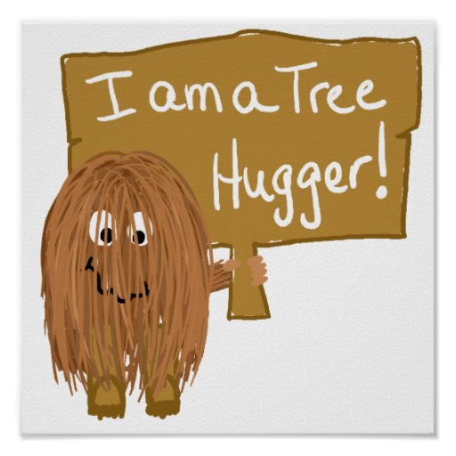 Brown tree hugger print