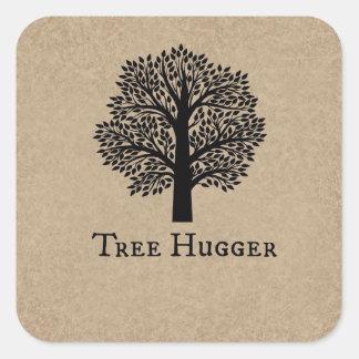 Brown Tree Hugger Square Sticker
