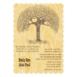 Brown Tree Love Bird Yellow Woodgrain Wedding Personalized Announcements