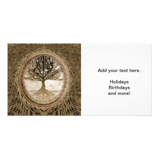 Brown Tree of Life Pattern Customised Photo Card