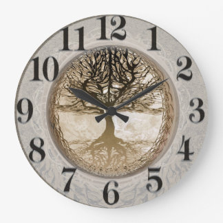 Brown Tree of Life Pattern Large Clock