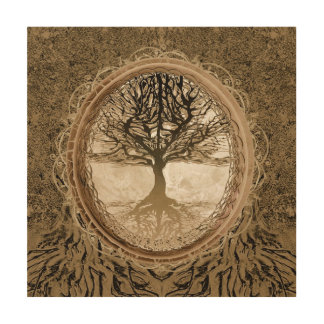 Brown Tree of Life Pattern Wood Canvas