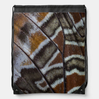 Brown tropical butterfly close-up drawstring bag