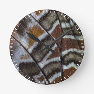Brown tropical butterfly close-up round clock