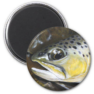 Brown Trout 6 Cm Round Magnet