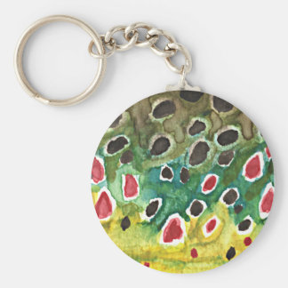 Brown Trout Fish Basic Round Button Key Ring