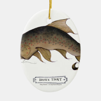 Brown Trout fish, tony fernandes Ceramic Oval Decoration